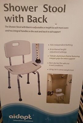 Aidapt Aluminium Adjustable Shower  Stool With Back - Mobility Chair