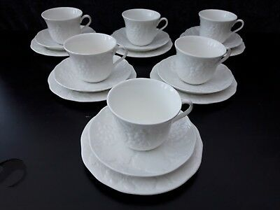 Wedgwood Strawberry And Vine Trios X 6 Tea cup, Saucer and Tea Plate