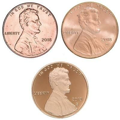 2018 P D S Lincoln Shield Cent Year Set Proof & BU US 3 Coin Lot