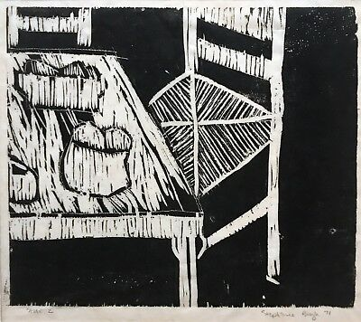 Orig black and white linocut Stephanie Boyle 1971 Beat artist collection