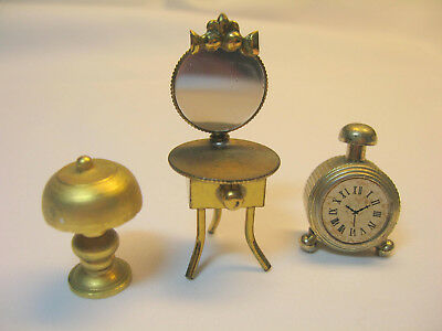 Vintage Miniature Doll House Brass Dressing Table/mirror Clock Lamp