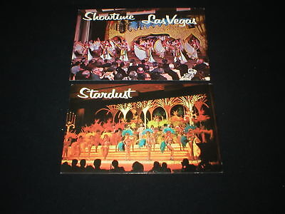 LAS VEGAS NEVADA <> Showtime At The Stardust Hotel On The Strip 2 Postcards