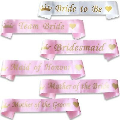 *pink With Gold* Bulk Buy Lot Hen Party Team Bride Sash Girls Night Out Do