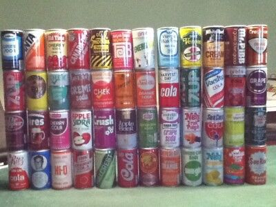 48 different flavors/brands of soda can. All Crimped steel. All pull tops.