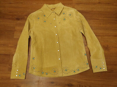 Gorgeous! Scully Womens Suede Leather Shirt Western Tan Beaded Pearl Snap Large