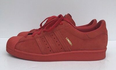 3ddd5b0d38eb ADIDAS LONDON SUEDE Red UK 10 Very Rare Trainers Excellent Condition .