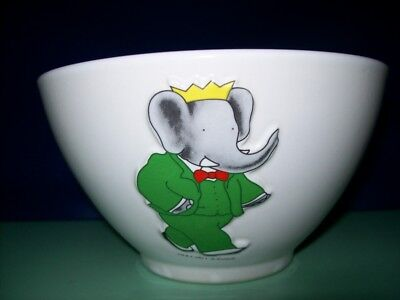 Tres Grand Bol Porcelaine- Babar En Relief -Annee 1991- Collection-Etat Neuf