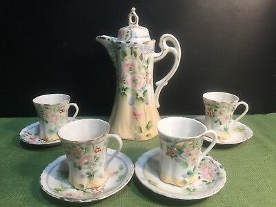 Antique Nippon Hand Painted Pink Green 4 Cups 4 Saucers Lidded Chocolate Pot