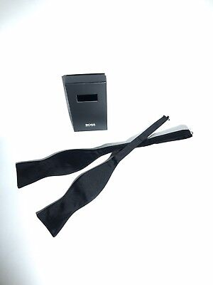 HUGO BOSS Men's Black Adjustable Bow Tie Untied 100% Silk Bowtie Necktie