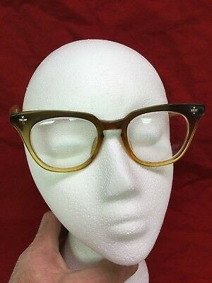 Vintage Bausch Lomb Safety Glasses 5 3/4 Brown Amber Horn Rim Rockabilly Hipster
