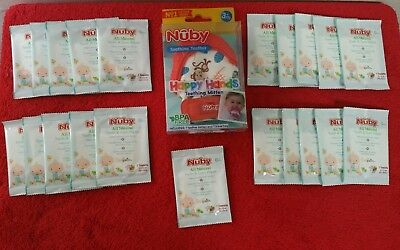 Nuby Soothing Teething Mitten with Hygienic Travel Bag with 21 Tooth & Gum Wipes