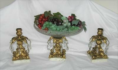 Vtg ORNATE Gold Centerpiece COMPOTE Bowl CANDLE HOLDERS  Hollywood Regency ITALY