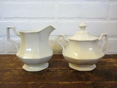 Johnson Brothers White Ironstone Heritage Creamer and Sugar Bowl with Lid