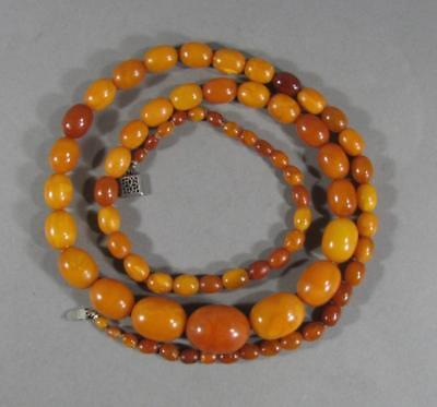 Nice Antique Butterscotch Amber Graduated Bead Necklace, Sterling Silver Clasp