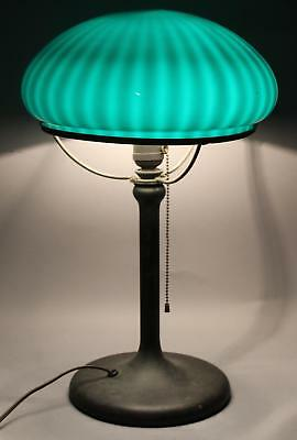 Antique Early 20thC Brass Table Lamp Emeralite Cased Ribbed Green Glass Shade