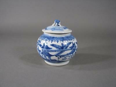 Nice Antique Chinese Blue & White Covered Jar, Signed, Peach Finial, Pot