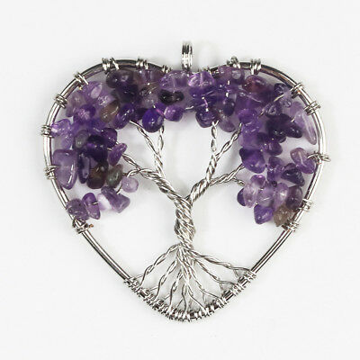 Natural Amethyst Tree of Life Reiki Silver Chakra Heart Pendant fit Necklace