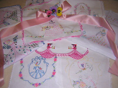 Charming Cottage Lot of 7 SOUTHERN BELLE Vtg Runners Hand Embroidered Crochet