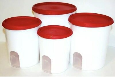 New TUPPERWARE One Touch Reminder 4~PC Canister Set RED Seal