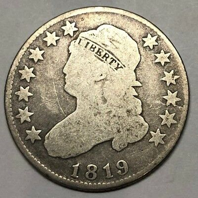 1819 Capped Bust Quarter Dollar - SMALL 9 - VG