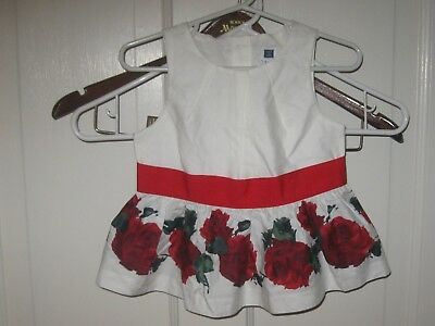 Janie & Jack Baby Girls Size 18-24 Months White Red Roses Dress Valentines Day