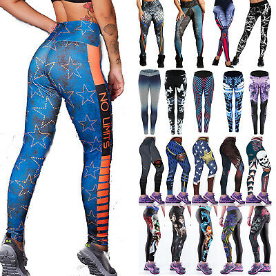 Womens Sports Yoga Pants Fitness Leggings Jogging Gym Workout 3D Print Trousers