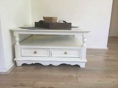 French Country Style Coffee Table With Glass Top