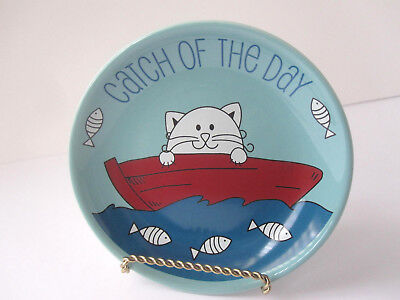 "Pet Food Dish 5"" Plate CAT Whisker City Catch Fishing Cats Lovers Gift Trinket"