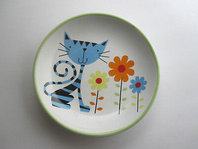 "Pet Food Dish 5"" Plate Blue MOD CAT Whisker City Cats Lovers Office Gift Trinket"