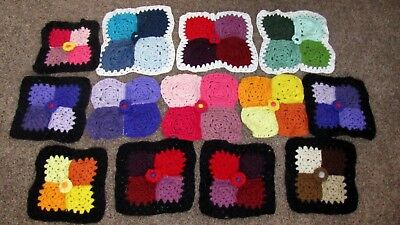 "Lot 13 Vintage Granny Squares 11""&14"" Crochet Doily Table Cloth Topper Repurpose"