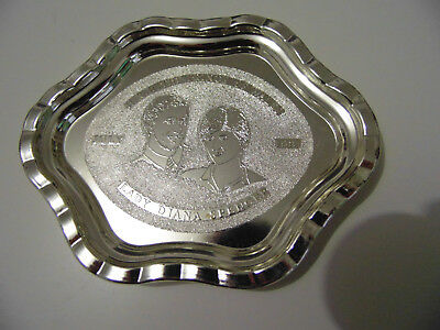 Charles & Dianna Princess Of Wales Commemorate Silver Plated Tray
