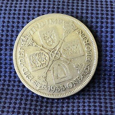 1933 UK Silver Two Shillings Average Circulated Condition & Highly Collectible
