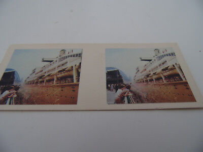 1960s 3D PHOTO VIEWER CARD - CEREAL TOY VIEW-A-SCOPE S.S Oriana Leaving Sydney