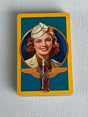 Vintage 1943 Coca Cola Playing Cards Flight Attendant Stewardess Coke