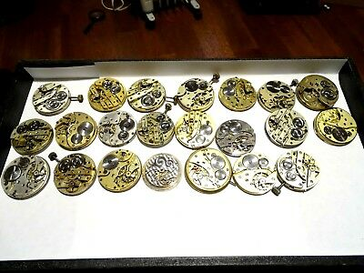 Large Lot of 22 Antique Manual Wind Pocket Watch Movements Swiss Made for Parts