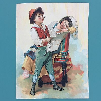 c1880 CHROMOLITHOGRAPH LARGE TRADE CARD, GIRL, BOY READING NEWSPAPER