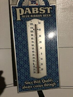 Vintage Pabst Blue Ribbon Beer Metal Thermometer Sign Advertising