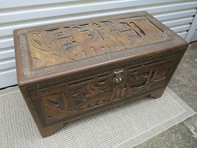 Camphor Wood Carved Chinese Motif Chest