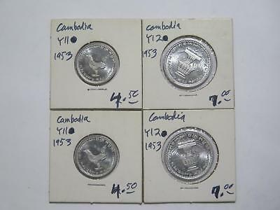 4- Cambodia Kingdom 20 & 10 Centimes 1953 Unc Type Old World Coin Collection Lot
