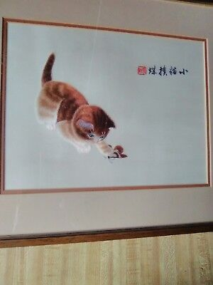 Chinese Suzhou Silk Embroidery Framed Cat Art -NICE!