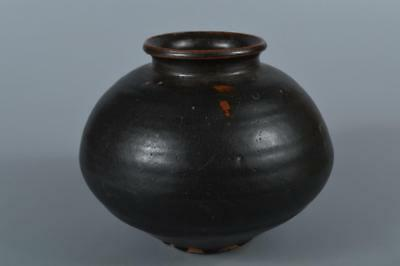 R6339: Japanese Seto-ware Black glaze BIG FLOWER VASE Ikebana Tea Ceremony