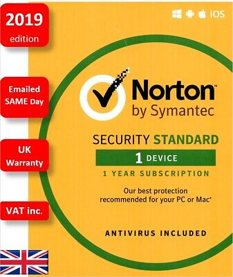 Norton Security 2019 1 Device 1 Year PC MAC Android Licence by email UK VAT inc