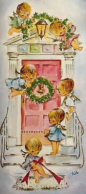 Baby Angels Pink Blue Decorate Christmas Door Archway Wreath Bows Vtg Xmas Card