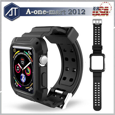 For Apple Watch Series 4 44mm Rubber Rugged Protective Case Cover + Strap Bands