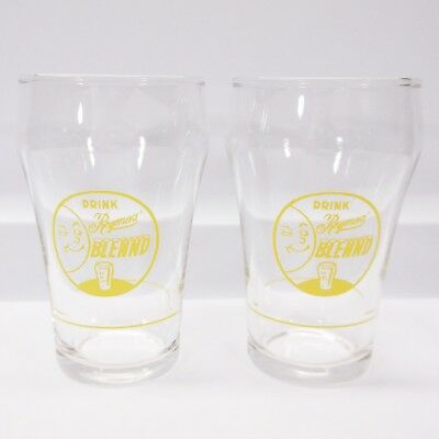Set of 2 VTG Reymers Blennd Pittsburgh Drink Soda Fountain Syrup Line Glass Cups