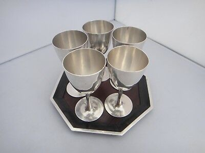 Chinese Export Silver 5 Cordials Cups With Tray Old