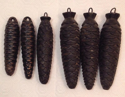 (6) Vintage Cast Iron Pine Cone German Cuckoo Clock Weights Parts Birdy
