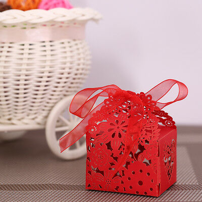 20PCS Delicate Carved Flower Elegant Candy Boxes with Ribbon for Party W0O9