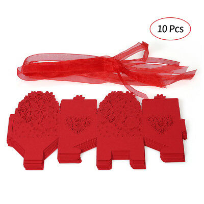 10PCS Delicate Carved Flower Elegant Candy Boxes with Ribbon for Party N3O0