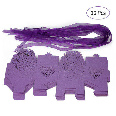 10PCS Delicate Carved Flower Elegant Candy Boxes with Ribbon for Party K8H4